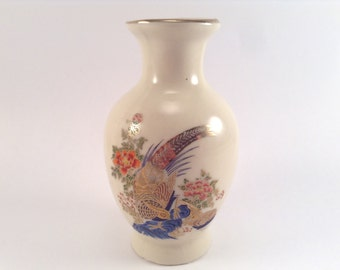 Vintage Chinese Bird and Flower Vase