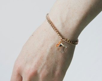 Bracelet cube and chain Bangle