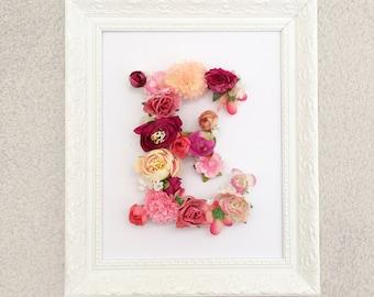 Custom framed floral letter