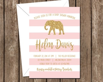 Elephant - Pink+white+gold - Girl Baby Shower Printable Invitation
