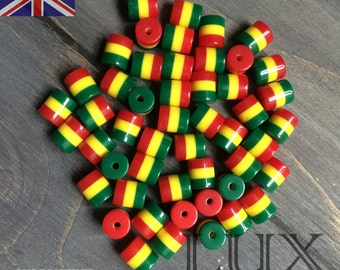 10mm x 8mm Red, Yellow, Green, Barrel Beads