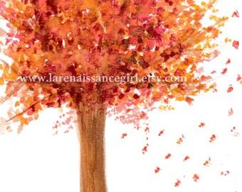 Autumn Tree / Tree Art Print / Tree Artwork {Watercolor Print 5X7}