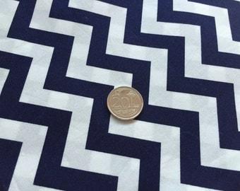 Navy Blue Chevron 100% Cotton Fabric