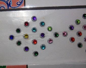 2 strip set ( 96 pcs) Bindi / tikka,  stone artificial gem decoration face / body / art / craft multi color