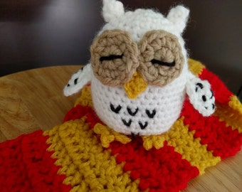 Harry Potter Inspired Owl Rattle, Hedwig rattle, owl rattle, baby rattle, rattle, owl plush toy