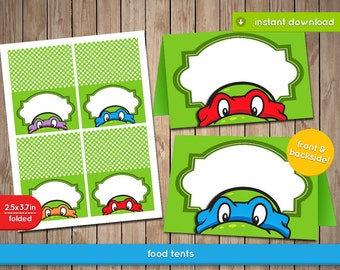 TMNT Food Label Tents - Teenage Mutant Ninja Turtles food, labels, Tents, tags, decoration, favors - Pdf INSTANT DOWNLOAD