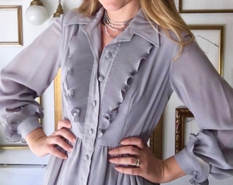 Vintage Grey Tally 70s Long Button Up Dress - Free Ship