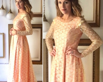 Vintage 60s Coral Pink and Gold Lace Gown - Free Ship