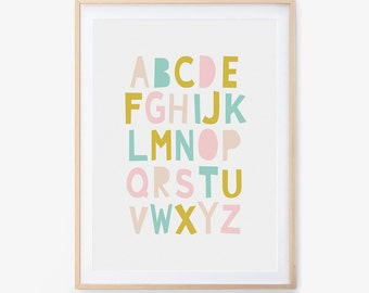 Nursery Alphabet Print, Collage, Printable Wall Art, Nursery Print, Wall Art, Nursery Art, Digital Download, Paper Art, Paper Art, ABC Print