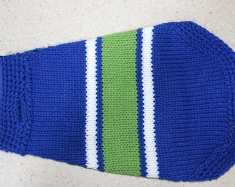 Blue, white, green striped dog sweater