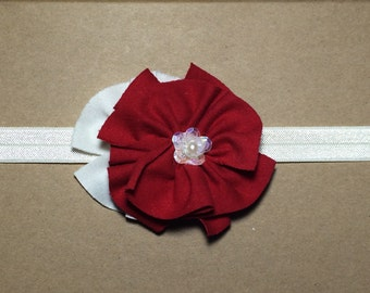 Red Flower Headband - Size Newborn Baby Girl adult