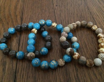 Set of 3 Handmade Brown & Blue Beaded Bracelets