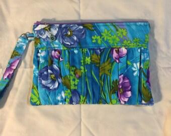 Vintage fabric gathered clutch, handbag, evening bag, purse, ecofriendly bag, zipper pouch, wristlet
