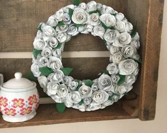 Customizable hand made paper flower wreath