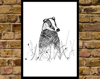 Badger wall art print illustration countryside black and white ink poster chic