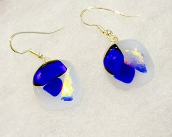 Gorgeous fused Glass Dangle Stainless Steel Earrings