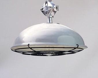 "Grey Pendant Light ""Industrial"", grey light, grey lamp shade, grey light shade, industrial light, grey pendant, vintage pendant, pendant"