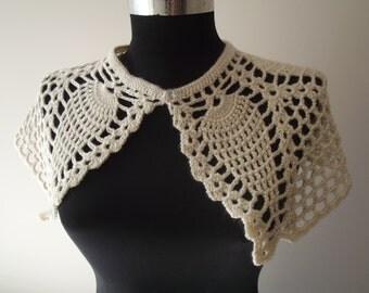 crochet capelet beige bridal crochet capelet