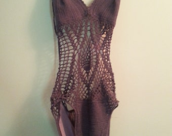 Purple Crocet Monokini