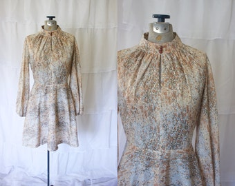 1970s Long-sleeved Dress // Brown and Blue Vintage Dress