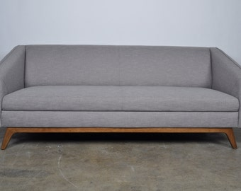 Mid Century Modern Gray Sofa Contemporary Willow with Walnut Legs
