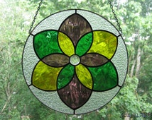 Stained Glass Suncatcher Round Mandala Sacred Geometry Tiffany Glass Home decor