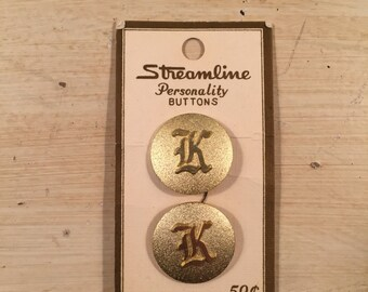 Vintage Gold Metallic Initial K Buttons