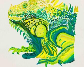 Iguana limted edition signed giclee fine art print
