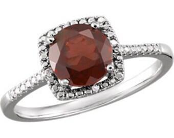 Sterling Silver Mozambique Garnet & .01 CTW Diamond Ring