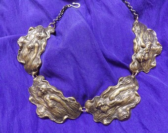 Art Nouveau Swimming Girl Brass Collar Necklace