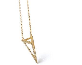 3d Triangle Necklace, Triangle Necklace, Geometric Necklace