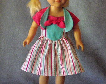 Fun Fifties Dress and Bolero for American Girl and other 18 inch dolls