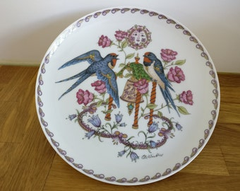 Vintage decorative porcelain plate Hutschenreuther by Ole Winther Month July