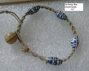 Blue pottery accent bracelet.