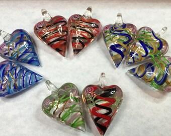 3 HANDBLOWN GLASS HEARTS