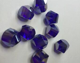 FIRE POLISHED BLUE Helix Beads