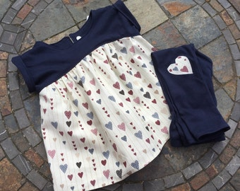 """Girls """"Heartstrings"""" tunic top and matching leggings - 18-24mths"""