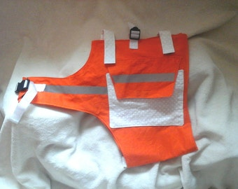 The Chilly Dog Vest in high viability orange and white