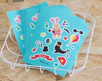 A6 Vinyl Sticker Sheet Circus