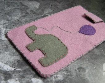 iPhone 6 sleeve,iPhone elephant cover, felt elephant sleeve,elephant phone case