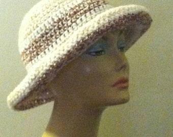 Crochet Upturned wide brim hat