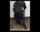 Ready to ship 2 SKIRTS. Double Bustle Long Brown & Black DAMASK DARK Colors, short black.  Steampunk Victorian Taffeta Skirt Costume Cosplay