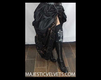 Ready to ship 2 SKIRTS. Double Bustle Brown & Black DAMASK DARK Colors.  Steampunk Victorian Taffeta Skirt Costume for Cosplay