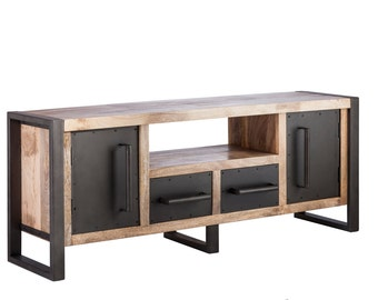 TV Unit Entertainment Stand Display 1.5m Table Storage Living Iron Wood
