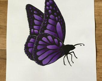 Purple Acrylic Butterfly