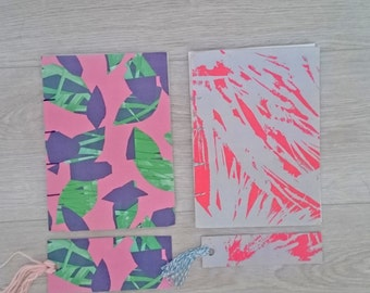 Handmade notebooks with matching bookmark, 2 different original designs.
