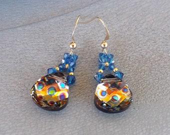 """14 KT gold earrings GF Swarovski drops """"Peacock Eye"""""""