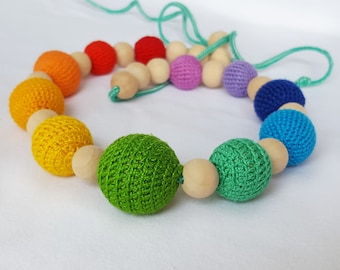 Silent chain for the sling (nursing necklace) Rainbow