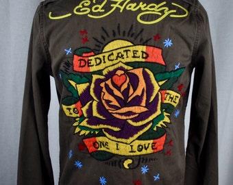 Women's Ed Hardy Fitted Army Jacket Sz XS