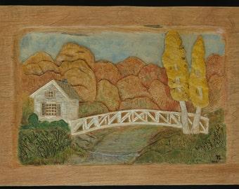 Relief Wood carving-Autumn Bridge Scene